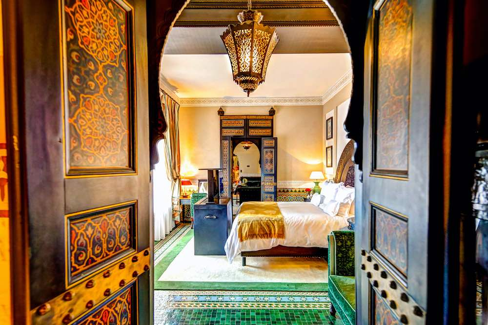 Marrakech, Morocco - April 6, 2019: Interior of a suite at La Mamounia resort in Marrakech Morocco.